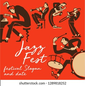 cool vintage vector of jazz band poster with trumpet player, pianist, saxophonist, drummer and  clarinetist nice composition and textured figures and background. for jazz concert or festival cover.