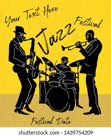 cool vintage vector of jazz band poster with trumpet player, saxophonist and drummer, nice composition and textured figures and background.for jazz concert or festival cover With text