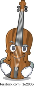 Cool violin mascot character with Smirking face