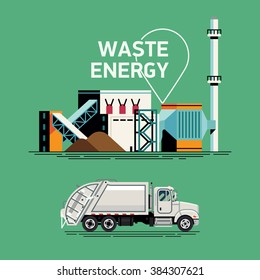 Cool Waste Energy vector elements with garbage rear loader truck and waste processing power plant