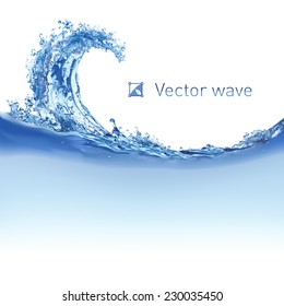 Cool water wave. Illustration on white for design