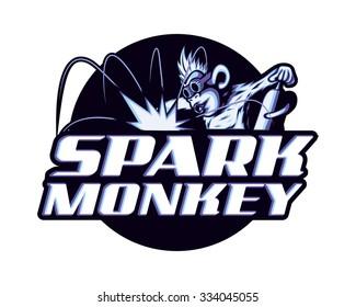 Cool welder monkey worker spark craftsman worker chimp mascot