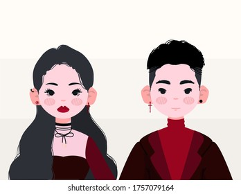 Cool White Boy And Girl Vector Illustration. Sexy Asian Boy And Girl Illustration. Stylish Gothic Boy And Girl Illustration.