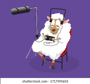 Cool white sheep playing on phone while listening to music in headset.  Modern vectot illustration sitting on a chair.