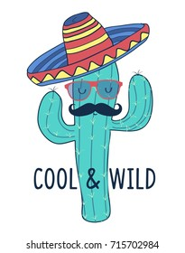 cool & wild slogan and cactus hand drawing vector.