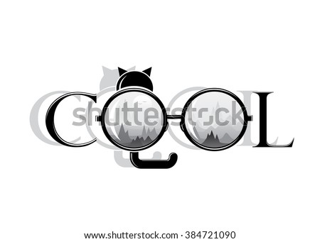 cool word cool mountain landscape cat stock vector royalty free