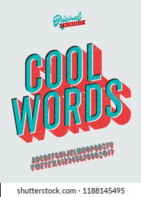 'Cool Words' Vintage 3D Sans Serif Rounded Alphabet with Long Shadow Effect. Retro Typography. Vector Illustration. Great for making quotes.