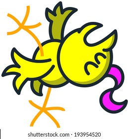 Cool yellow chick with a fuchsia streak while falling backwards, opening its mouth, raising a leg, stretching its wings, closing its eyes and fainting slowly