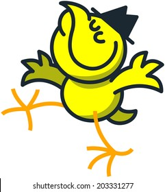 Cool yellow chicken with a black hat on its head while striding, extending its wings, raising its head and smiling generously in a very proud mood