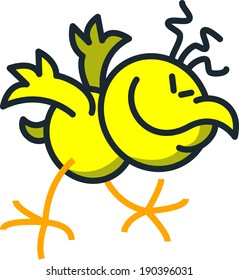 Cool yellow chicken while moving frenetic, enthusiastic and rhythmically his body and head while keeping balance with its wings and feet, smiling generously and clenching its eyes