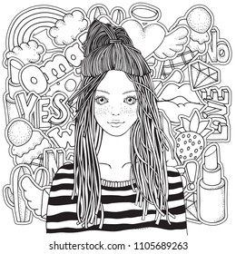 Girls Coloring Book Stock Illustrations Images Vectors