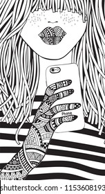 Cool yong girl taking picture on smartphone. Adult Coloring book page. Young woman. Black and white Hand-drawn vector illustration. Zentangle style.