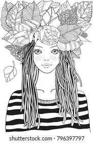 Cool young girl  in a striped sweater with autumn leaves . Adult Coloring book page. Young woman. Black and white Hand-drawn vector illustration. Zentangle style.