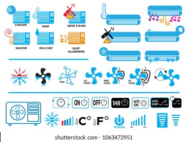 Cooler or Heater AC manual and digital icons for different industrial label use. Editable Clip Art.