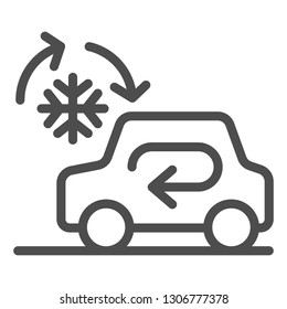 Cooling car system line icon. Auto air conditioning vector illustration isolated on white. Car climate control outline style design, designed for web and app. Eps 10