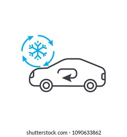 Cooling car system vector thin line stroke icon. Cooling car system outline illustration, linear sign, symbol concept.