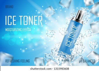 Cooling Ice toner with ice cubes. Realistic frozen refreshing spray bottle packaging ad. Skin care face toner product design. 3d vector illustration