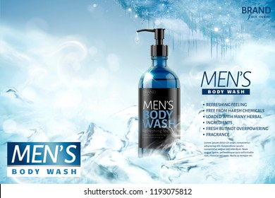 Cooling men's body wash in 3d illustration on frozen background
