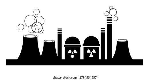 Cooling tower, emblem of factory isolated on white background for logo, business card. Silhouette of a nuclear power plant. Vector illustration.