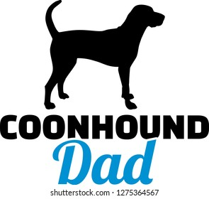 Coonhound dad silhouette with blue word
