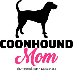 Coonhound mom silhouette with pink word