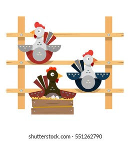 Coop Roost For Farm Poultry Cartoon Chicken In Flat Style Vector Illustration Isolated
