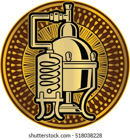Cooper alcohol distillation unit alembic as logo or Icon template.