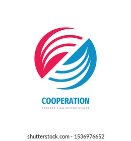 Cooperation abstract vector logo concept illustration. Stripes in circle. Sphere icon. Hi-tech geometric sign. Collaboration symbol.