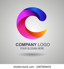 Cooperation Abstract Vector Sign, Symbol or Logo Template. Hand Shake Incorporated in Letter C Concept. Isolated. EPS