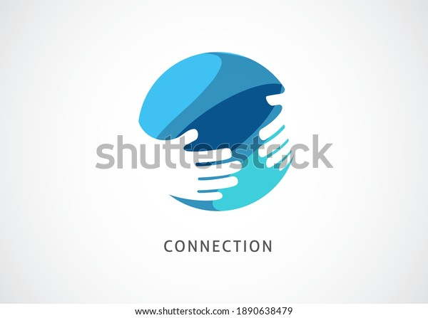 Cooperation Abstract Vector Sign, symbol and logo template. Handshake, network concept design