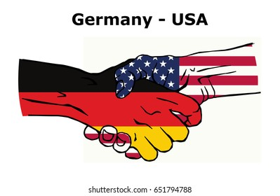 Cooperation between the Germany and USA. Handshake, Background of the flags of the Germany and USA. Colored Vector illustration.