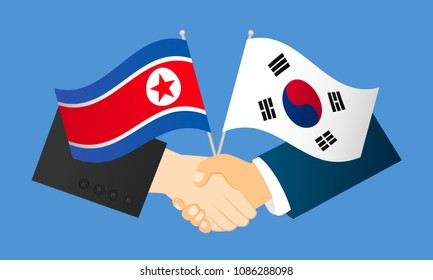 Cooperation between North Korea and South Korea vector illustration. Handshake with flags.