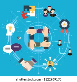 Cooperation and collaboration.Teamwork strategy in business. Negotiation, teamwork and collaboration in business .Internet website banner concept with icons in flat design vector illustration.