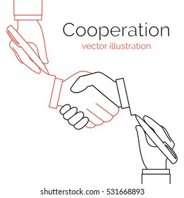 Cooperation concept business partnership. Icon handshake minimum design line. Symbol of successful meeting and deal. Teamwork. Agreement, collaboration creative idea.