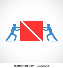 Co-operation concept when people helping each other. Vector illustration.