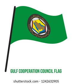 Cooperation Council for the Arab States of the Gulf Flag Waving Vector Illustration on White Background.