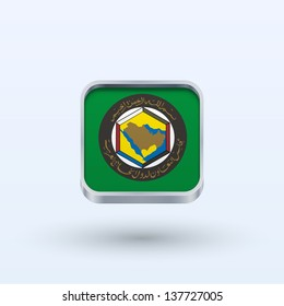Cooperation Council for the Arab States of the Gulf flag icon square form on gray background. Vector illustration.