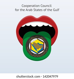 Cooperation Council for the Arab States of the Gulf speak. Abstract human mouth. Vector illustration.