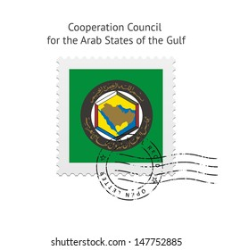 Cooperation Council for the Arab States of the Gulf Flag Postage Stamp on white background. Vector illustration.