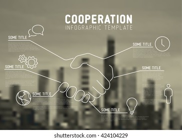 Cooperation infographic template report made from lines and icons with city skyline