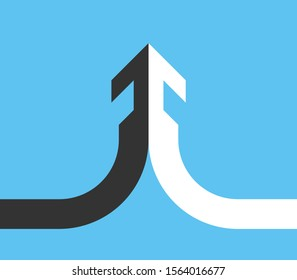 Cooperation, partnership, merger and consolidation concept. Opposite halves merging into integrated arrow on bright blue. Flat design. Vector illustration, no transparency, no gradients