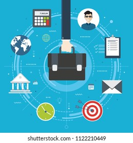 Cooperation strategy, business vision and leadership. Businessman hand holding a briefcase. Target, briefcase, bank, office, calculator, world map and business icons. Flat design vector illustration.