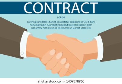 Cooperation, Teamwork Flat Banner Vector Template. Business Partners Handshake Illustration with Text Space. Successful Negotiation, Corporate Relationship Establishment. Professional Partnership