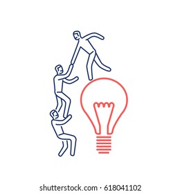 Cooperation and teamwork. Vector illustration of businessman helps to climb on bulb | modern flat design linear concept icon and infographic red and blue on white background