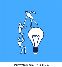 Cooperation and teamwork. Vector illustration of businessman helps to climb on bulb | modern flat design linear concept icon and infographic on blue background