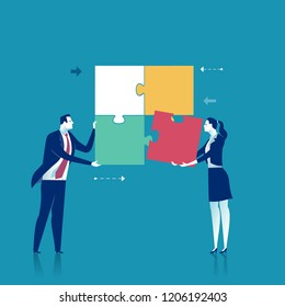Cooperation. Two office persons working together on a project. Business vector concept illustration