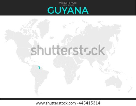 Guyana Location On World Map.Cooperative Republic Guyana Location Modern Detailed Stock Vector