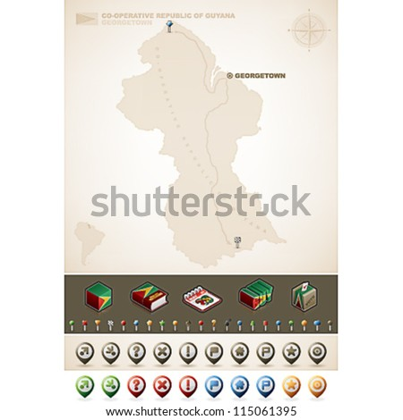 Cooperative Republic Guyana South America Maps Stock Vector (Royalty ...