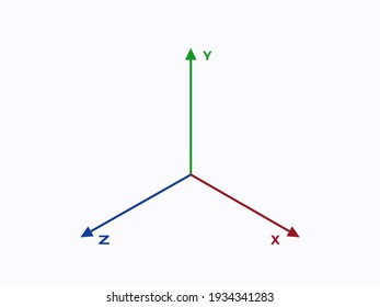 Coordinate axes. Geometric green cartesian scale with blue analytical system in xyz red diagram horizontal and vertical vector planes.