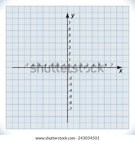 coordinate axis on graph paper origin stock vector royalty free